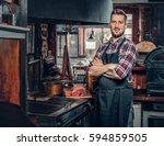 portrait of stylish bearded... | Shutterstock . vector #594859505