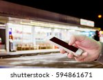 man use mobile phone  blur... | Shutterstock . vector #594861671