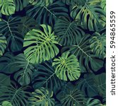 seamless vector tropical... | Shutterstock .eps vector #594865559