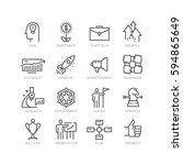 vector line icons set of... | Shutterstock .eps vector #594865649