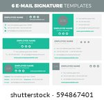 set of 6 flat and modern e mail ... | Shutterstock .eps vector #594867401