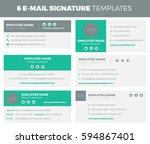 set of 6 flat and modern e mail ... | Shutterstock .eps vector #594867401