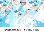 hand drawn vector artistic... | Shutterstock .eps vector #594874409