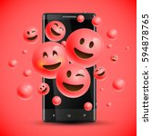 realistic happy red emoticons... | Shutterstock .eps vector #594878765