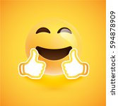 realistic happy smiley with... | Shutterstock .eps vector #594878909