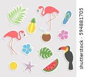 a large set of cute cartoon... | Shutterstock .eps vector #594881705