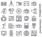 photography outline icon set.  | Shutterstock .eps vector #594882599