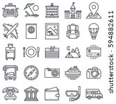 travel and tourism outline icon ... | Shutterstock .eps vector #594882611