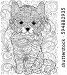 cat coloring page for adult | Shutterstock .eps vector #594882935