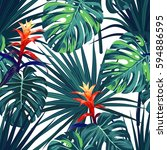 exotic tropical background with ... | Shutterstock .eps vector #594886595