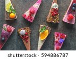 raw vegan cakes with fruit and... | Shutterstock . vector #594886787