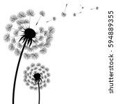 silhouette dandelion  vector... | Shutterstock .eps vector #594889355