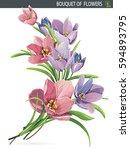 elegant beautiful bouquet of...   Shutterstock .eps vector #594893795