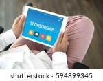 sponsorship concept on tablet... | Shutterstock . vector #594899345
