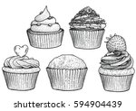cupcake illustration  drawing ... | Shutterstock .eps vector #594904439