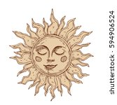 hand drawn sun with face... | Shutterstock .eps vector #594906524