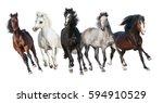 Stock photo horse herd run forward isolated on white background 594910529