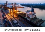 container ship in export and... | Shutterstock . vector #594916661