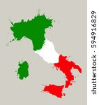 italy map with flag inside.  | Shutterstock .eps vector #594916829