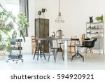 trendy  white dining room with... | Shutterstock . vector #594920921