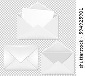 envelope big collection with... | Shutterstock .eps vector #594925901