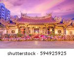 night view of lungshan temple... | Shutterstock . vector #594925925