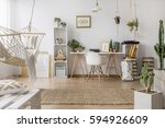 spacious study room in boho... | Shutterstock . vector #594926609