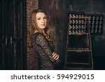 girl in the grunge studio  with ... | Shutterstock . vector #594929015