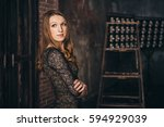 girl in the grunge studio  with ... | Shutterstock . vector #594929039