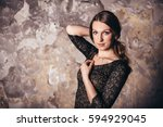 girl in the grunge studio  with ... | Shutterstock . vector #594929045