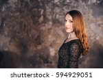 girl in the grunge studio  with ... | Shutterstock . vector #594929051