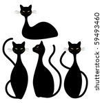 four black cats | Shutterstock .eps vector #59493460