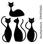 four black cats | Shutterstock .eps vector #59493460