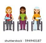 young women in wheelchairs set  ... | Shutterstock .eps vector #594940187