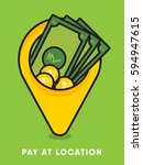 pay at the location concept.... | Shutterstock .eps vector #594947615