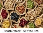 legumes bean seed in sack  top... | Shutterstock . vector #594951725