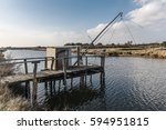 fishing cabin on the bank of... | Shutterstock . vector #594951815