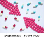 two pink arrows made by pink... | Shutterstock . vector #594954929