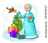 snow maiden and many presents | Shutterstock . vector #59495917