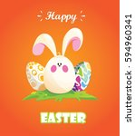 happy easter.rabbit disguised... | Shutterstock .eps vector #594960341