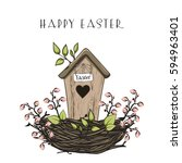easter composition with nesting ... | Shutterstock .eps vector #594963401
