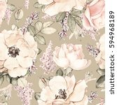 Stock photo seamless pattern with pink flowers and leaves on beige background watercolor floral pattern 594968189