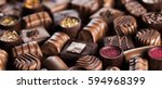 praline chocolate on wooden... | Shutterstock . vector #594968399