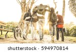 group of urban friends walking... | Shutterstock . vector #594970814