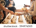 coffee break at conference... | Shutterstock . vector #594976505