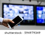 cctv security camera monitor in ... | Shutterstock . vector #594979349
