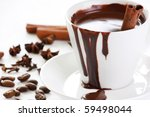 hot chocolate with spice - stock photo