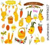 happy easter vector set in... | Shutterstock .eps vector #594990617