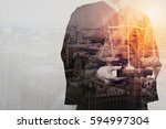 double exposure of justice and... | Shutterstock . vector #594997304