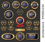 golden badges and labels... | Shutterstock .eps vector #595001234